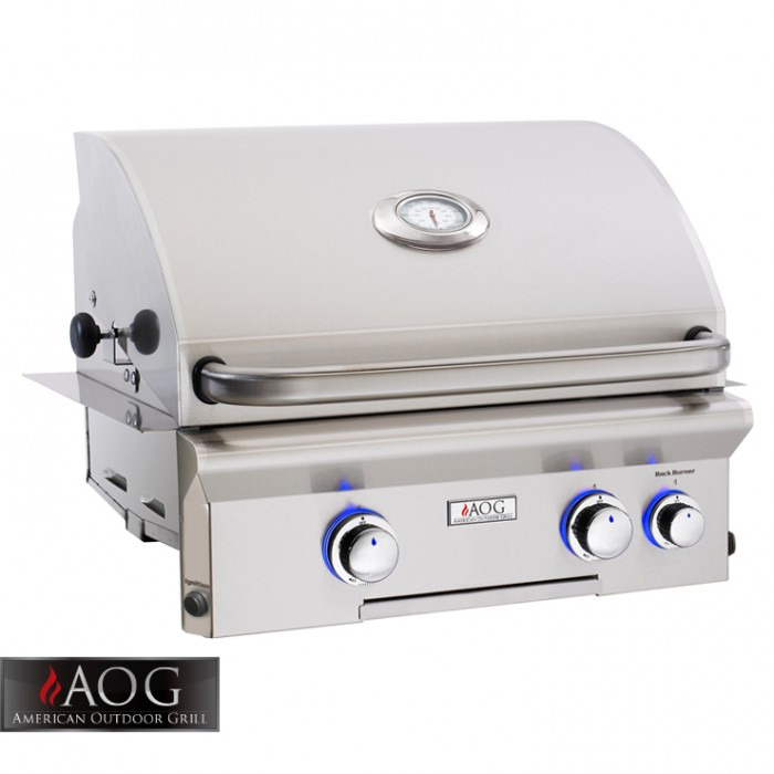 "AOG Grills 24"" L Series Built-In Grill With Rotisserie System - 24NBL BBQ GRILLS"