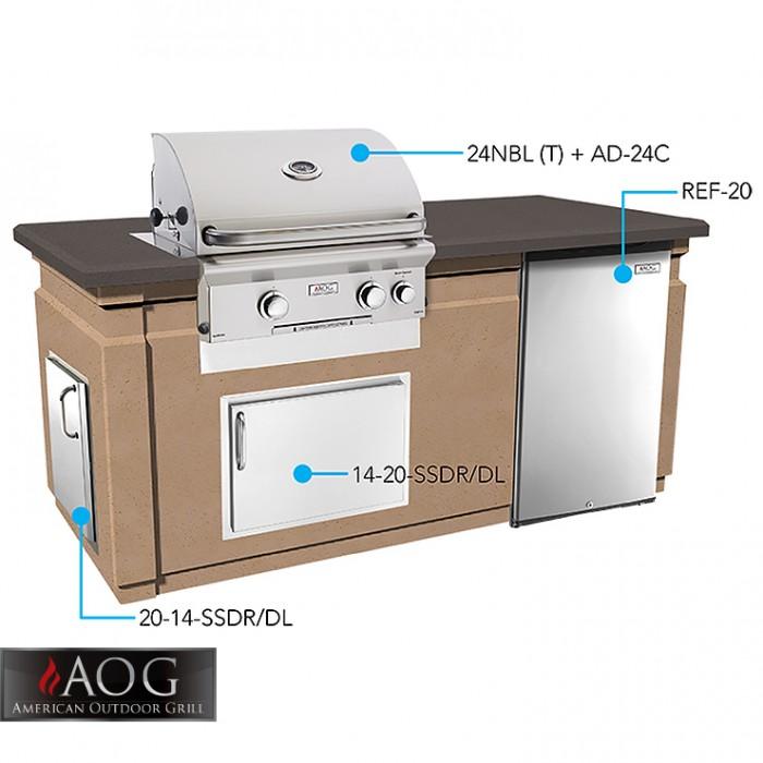 AOG Grills Pre Fab Island 430 Glass Fiber Reinforced Concrete Base Café Blanco base - DC430-CBR-75SM BBQ GRILLS