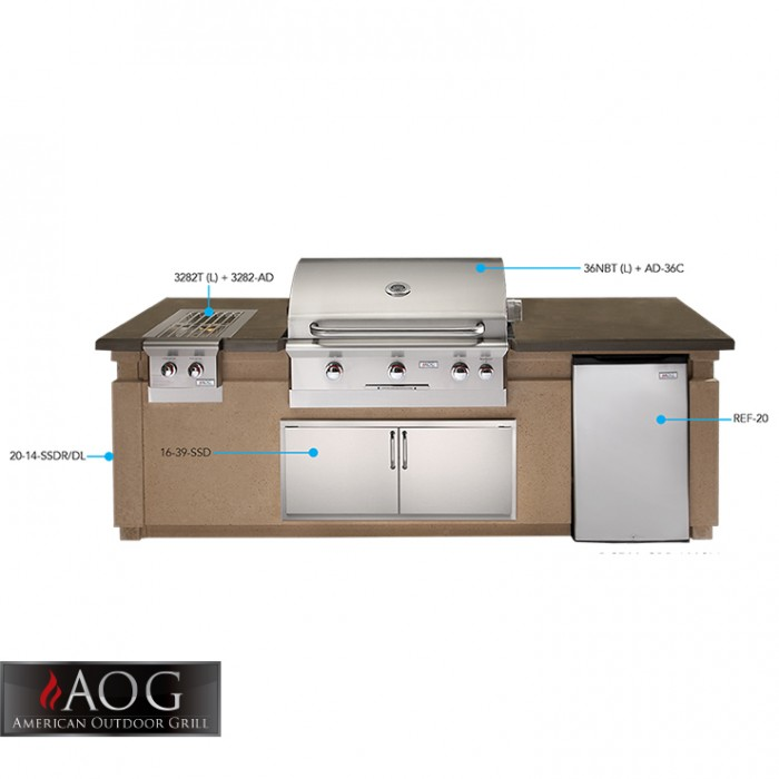 AOG Grills Pre Fab Island 790 Glass Fiber Reinforced Concrete Base Café Blanco - DC790-CBR-108SM BBQ GRILLS