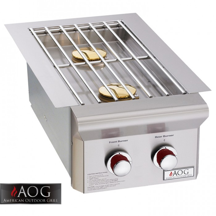 "AOG Grills Built-In Double Side burner 25,000 Btu's ""L"" Series - 3282L BBQ GRILLS"