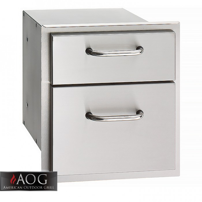 "AOG Grills DBL Wall Stainless Steel 16"" x 15"" Double Drawer - 16-15-DSSD"