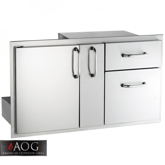 "AOG Grills Stainless Steel 18"" x 36"" Door w/ Double Drawer & Platter Storage"