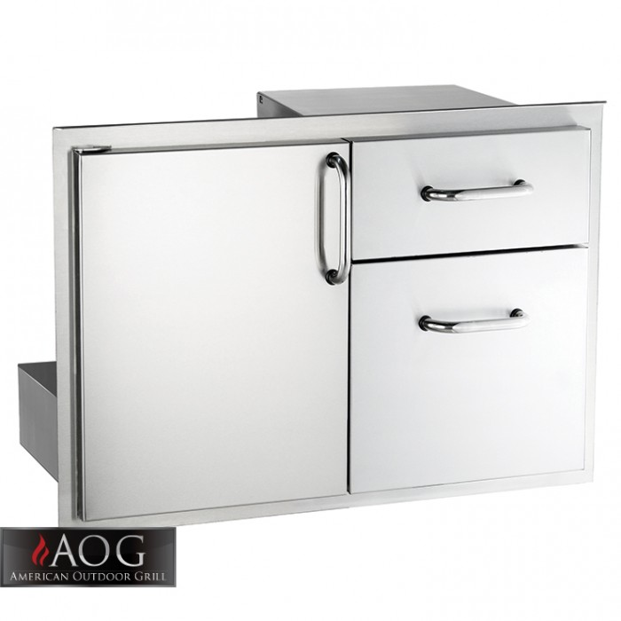 "AOG Grills Stainless Steel 18"" x 30"" Door w/ Double Drawer BBQ GRILLS"