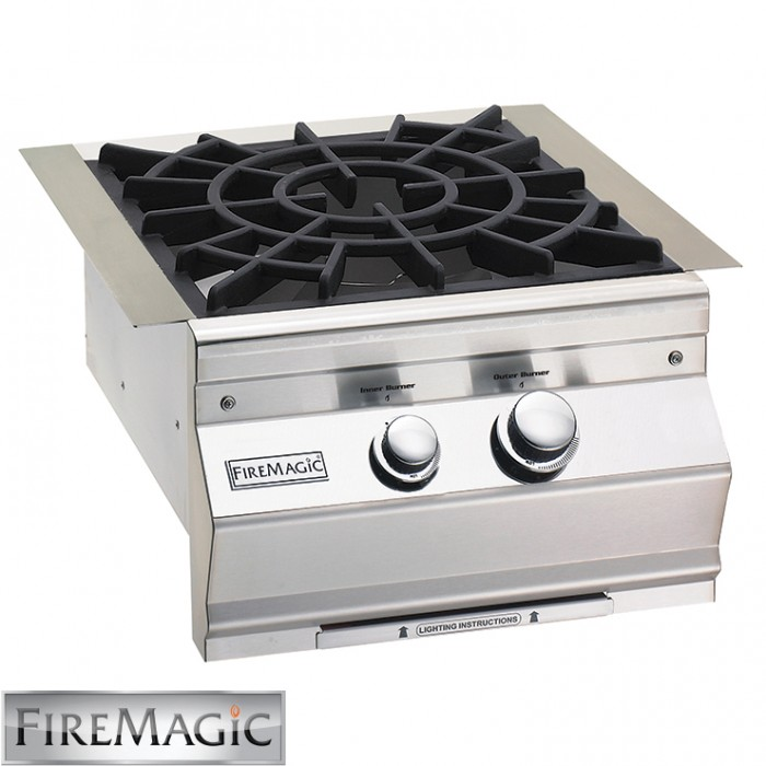 Fire Magic Aurora style w/Cast Brass Burner & Porcelain Cast Iron Grid 60K Btu - 19SLB2N0