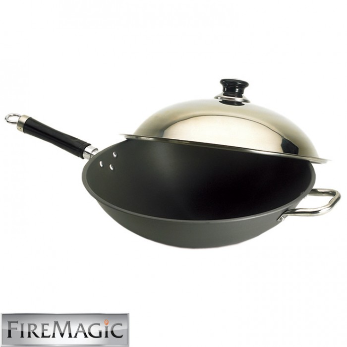 "Fire Magic Wok 15"" Hard Anodized w/ Stainless Steel Cover - 3572"
