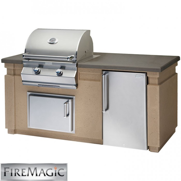 Fire Magic Aurora A430i Grill Island Package With Refrigerator and Access Door - DC430-CBR-75SM BBQ GRILLS