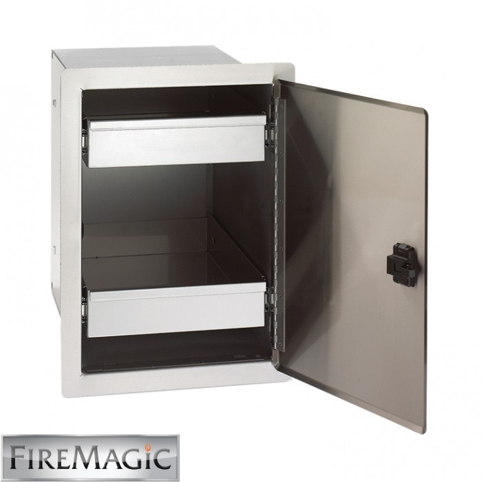 "Fire Magic Legacy Stainless Steel Single Access Door w/Dual Drawers, 20 1/2"" x 14 1/2"" x 20 1/2"" - 23820-S"