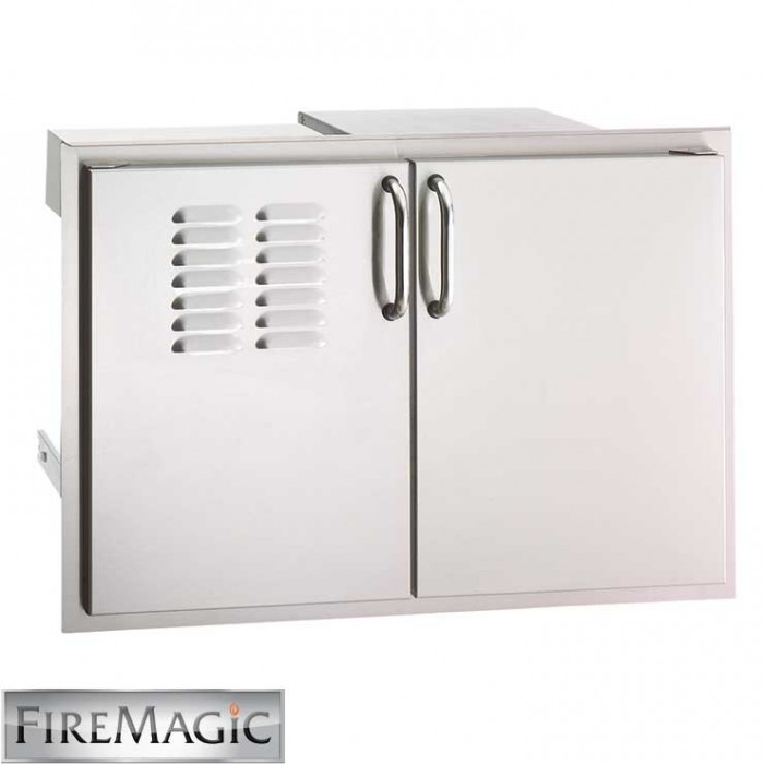 "Fire Magic Select SS DBL Door w/ Dual Drawer, Louvers & Trash Tray, 21"" x 30 1/2"" x 20 1/2"" - 33930S-12T"