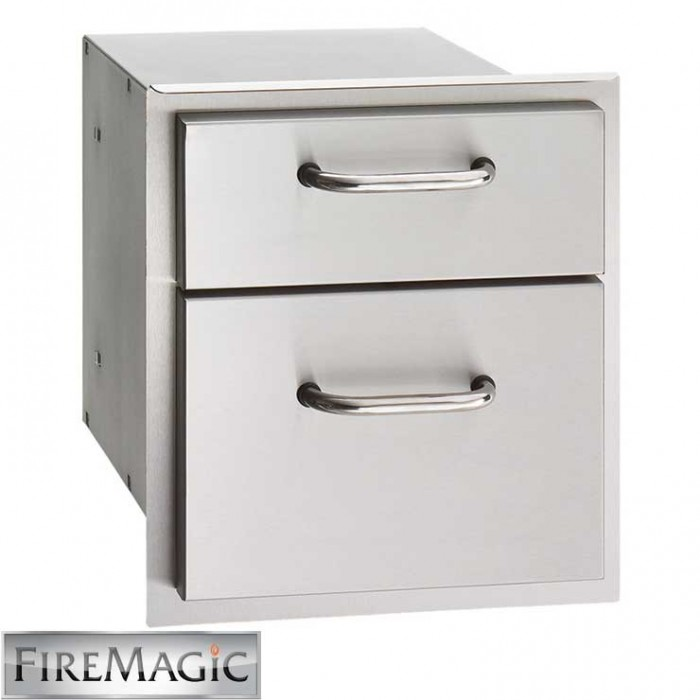 "Fire Magic Select Stainless Steel Double Drawer, 15 3/4"" x 14 1/2"" x 20 1/2"" - 33802"