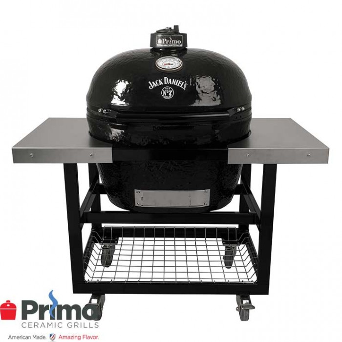 Primo Grills Jack Daniel's Edition Oval XL 400 & Cart with Basket w/SS Side Shelves Combination - PRM900 / PRM370