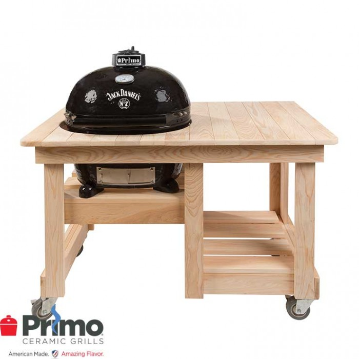 Primo Grill Jack Daniel's Edition Oval XL 400 & Cypress Counter Top Table Combination - PRM900 / PRM612