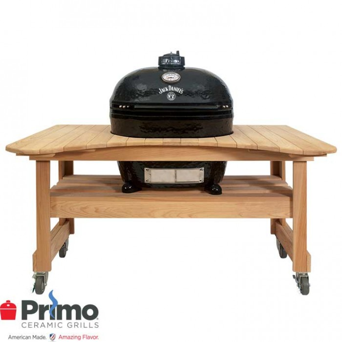 Primo Grill Jack Daniel's Edition Oval XL 400 & Cypress Table Combination - PRM900 / PRM600 Primo Grills Collection