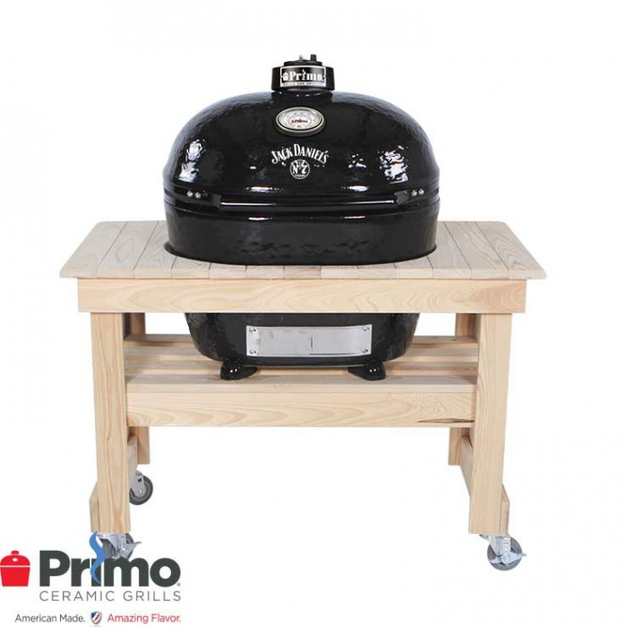 Primo Grill Jack Daniel's Edition Oval XL 400 & Cypress Table Compact Combination - PRM900 / PRM602 Primo Grills Collection