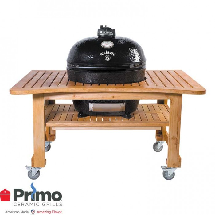 Primo Grill Jack Daniel's Edition Oval XL 400 & Teak Table Combination - PRM900 / PRM603 Primo Grills Collection
