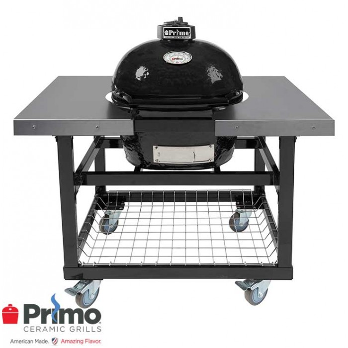 Primo Grills Oval JR 200 & Cart with Basket w/SS Side Shelves Combination PRM774 / PRM320 Primo Grills Collection