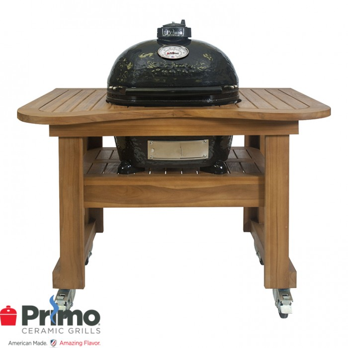 Primo Grills Oval JR 200 & Teak Table Combo PRM774 / PRM610 Primo Grills Collection
