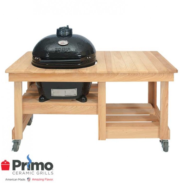 Primo Oval LG 300 & Cypress Counter Top Table Combination PRM775 / PRM613 Primo Grills Collection