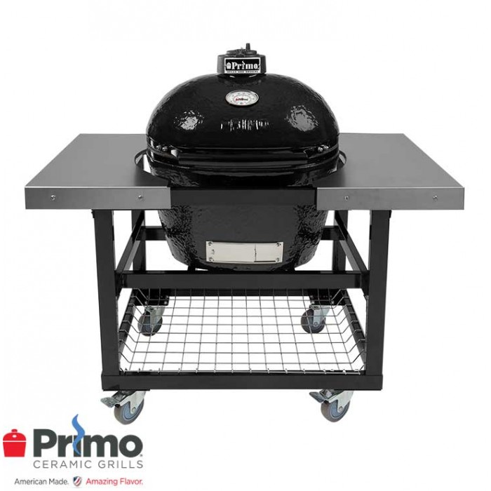 Primo Grill Oval LG 300 & Cart with Basket w/SS Side Shelves Combination PRM775 / PRM370 Primo Grills Collection