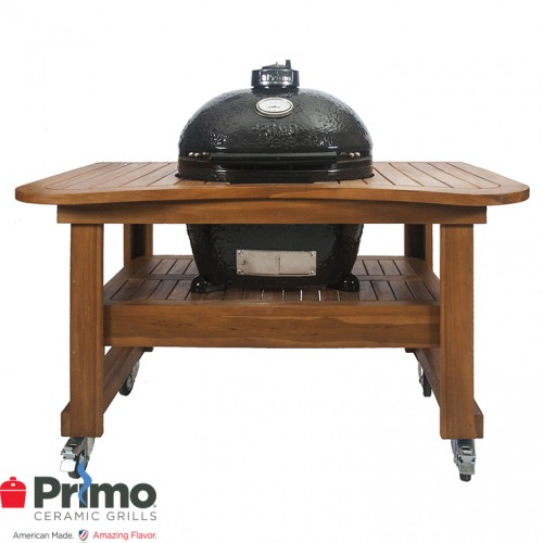 Primo Grill Oval LG 300 & Teak Table Combination PRM775 / PRM615 Primo Grills Collection