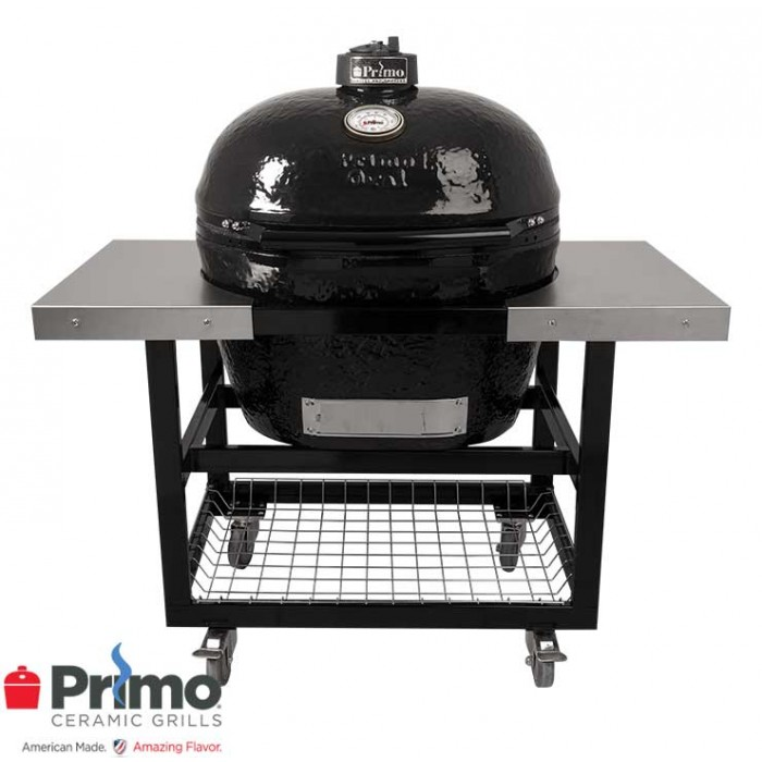 Primo Grill Oval XL 400 & Cart with Basket w/SS Side Shelves Combo PRM778 / PRM370