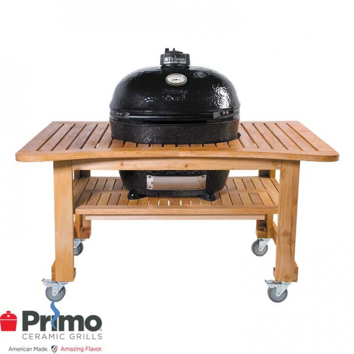 Primo Grill Oval XL 400, Grill & Teak Table PRM778 / PRM603