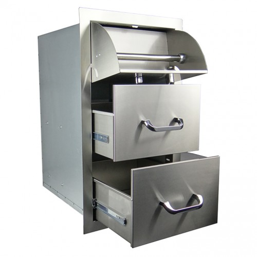 RCS Stainless Enclosed Paper Towel Holder / 2 Drawer Combo - RTHC1 RCS Grill Collection