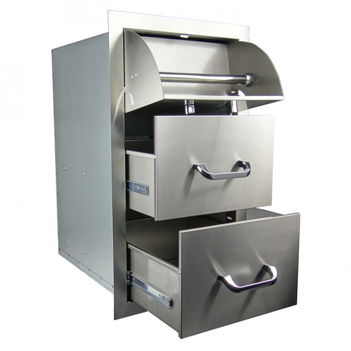 RCS Stainless Enclosed Paper Towel Holder / 2 Drawer Combo - RTHC1
