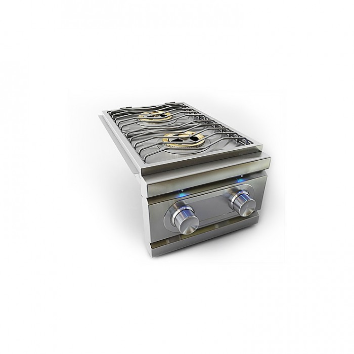 RCS Stainless Double Side Burner, Slide‐In W/ LED lights - RDB1EL RCS Grill Collection