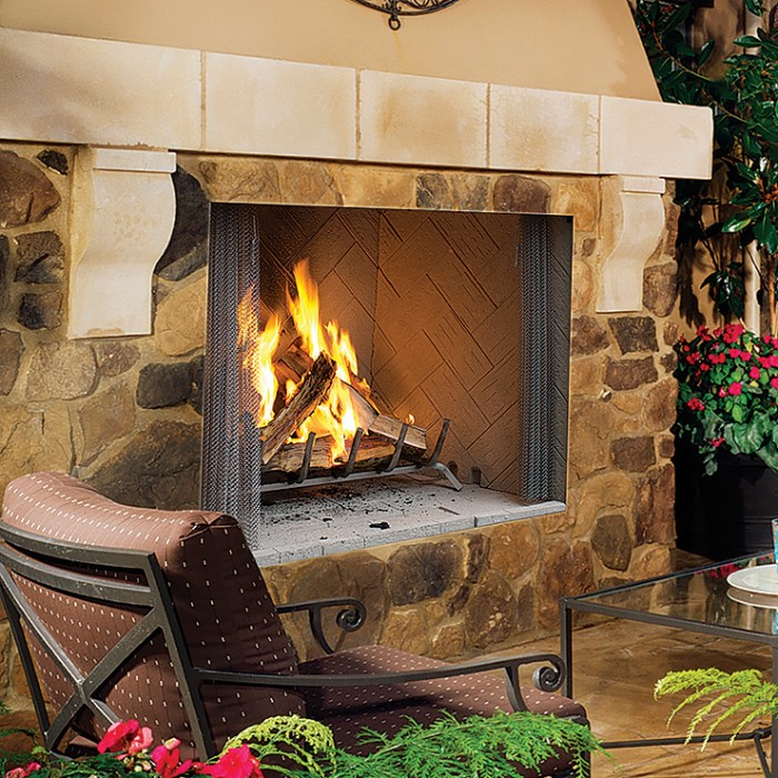 "Superior 36"" Outdoor Wood Burning Fireplace, White Herringbone Refractory Panels - WRE4536WH"