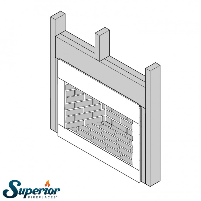 "Superior 36"" Paneled Outdoor Vent-Free Firebox, White Stacked Refractory Panels - VRE4036WS"