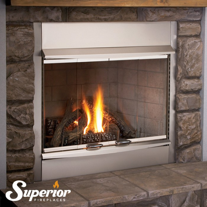 "Superior 36"" SS Outdoor Gas Fireplace, Front Open, White Stacked Refractory Panels, Electronic, Natural - VRE4336ZEN"